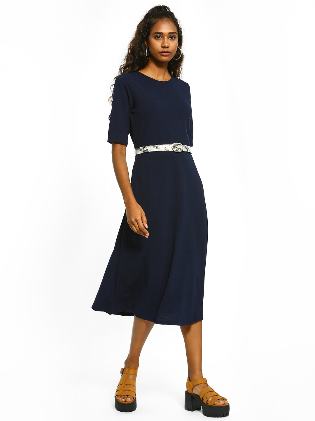 Femella Navy Fit And Flare Midi Dress 1