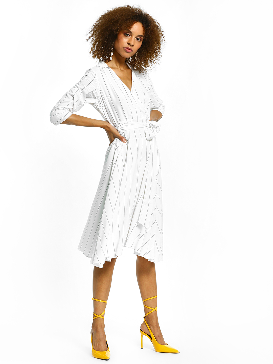 Femella White Pinstripe Wrap Collared Midi Dress 1