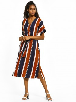 Femella Colour Block Stripe Belted Dress