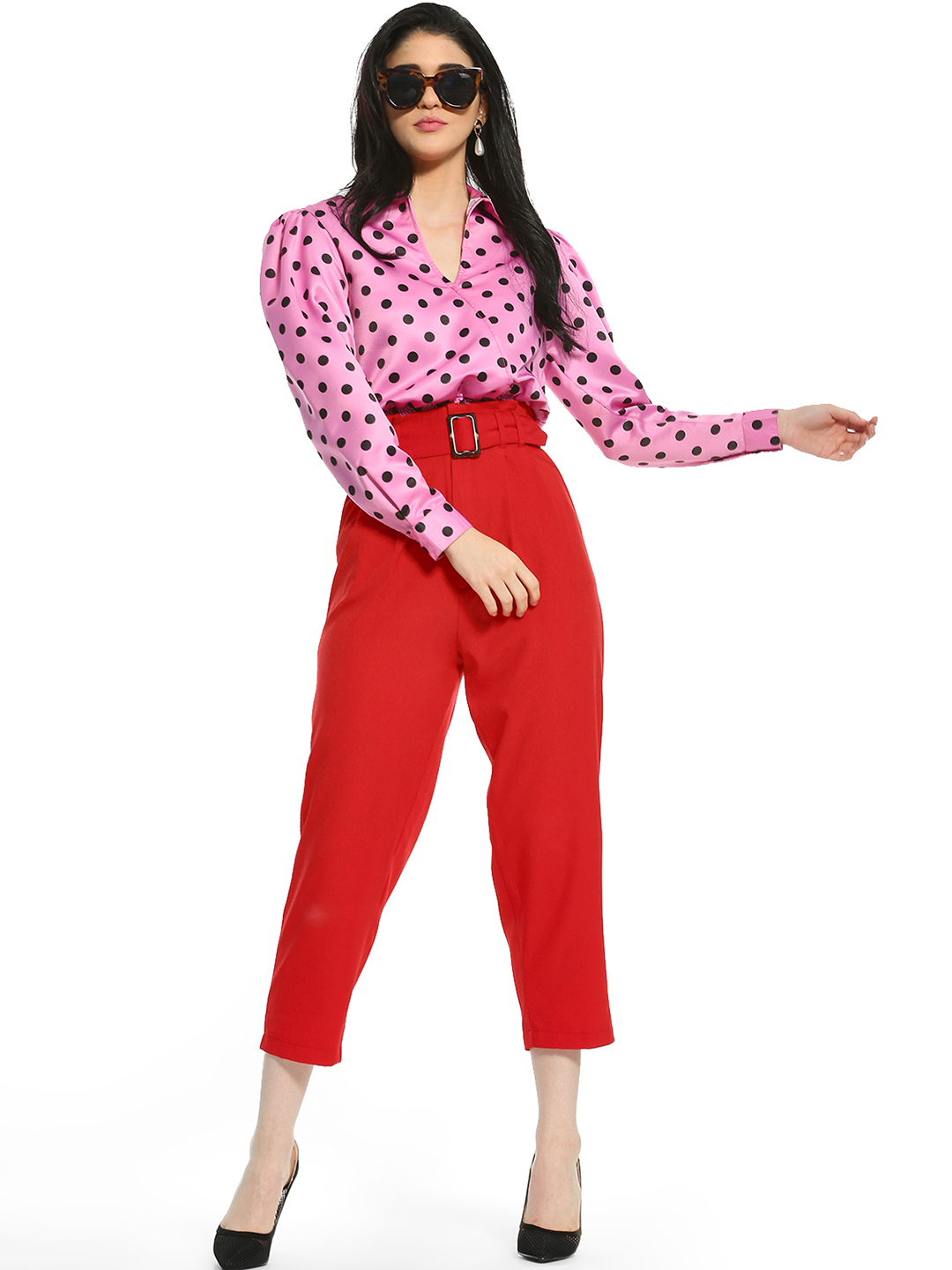 KOOVS Red Belted Waist Cropped Paperbag Trousers 1