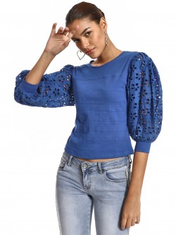 KOOVS Broderie Detail Balloon Sleeve Top