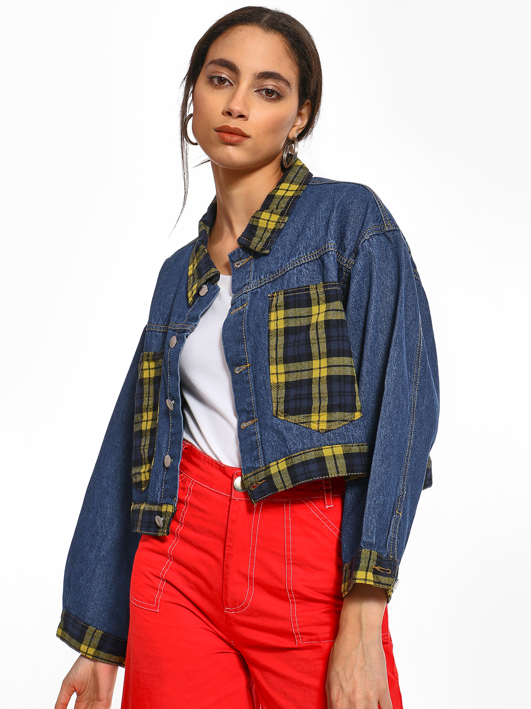 K Denim Multi KOOVS Dark Wash Check Patch Jacket 1