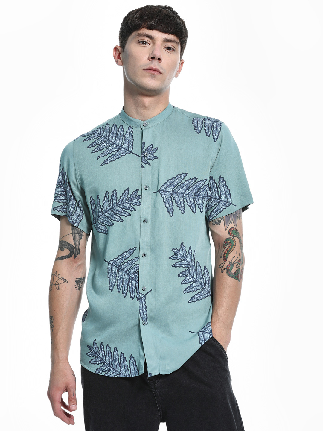 Green Hill Blue Leaf Print Grandad Collar Shirt 1