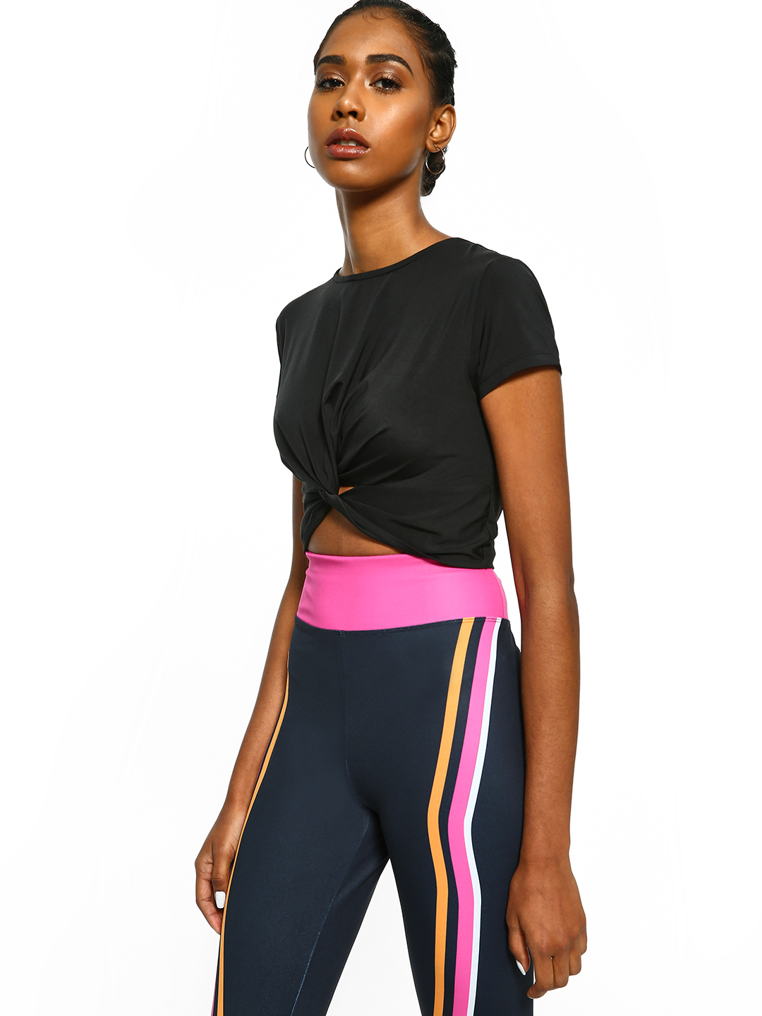 K ACTIVE Jet Black KOOVS Twist Knot Front Crop Top 1