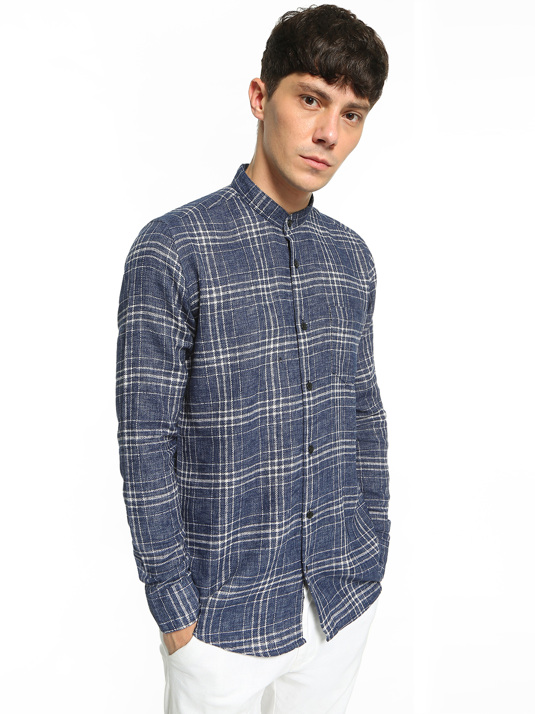 AMON Blue Yarn Dyed Knitted Check Shirt 1