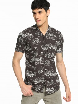 AMON Tropical Island Print Cuban Shirt