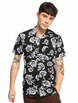 AMON Rose Print Cuban Collar Shirt
