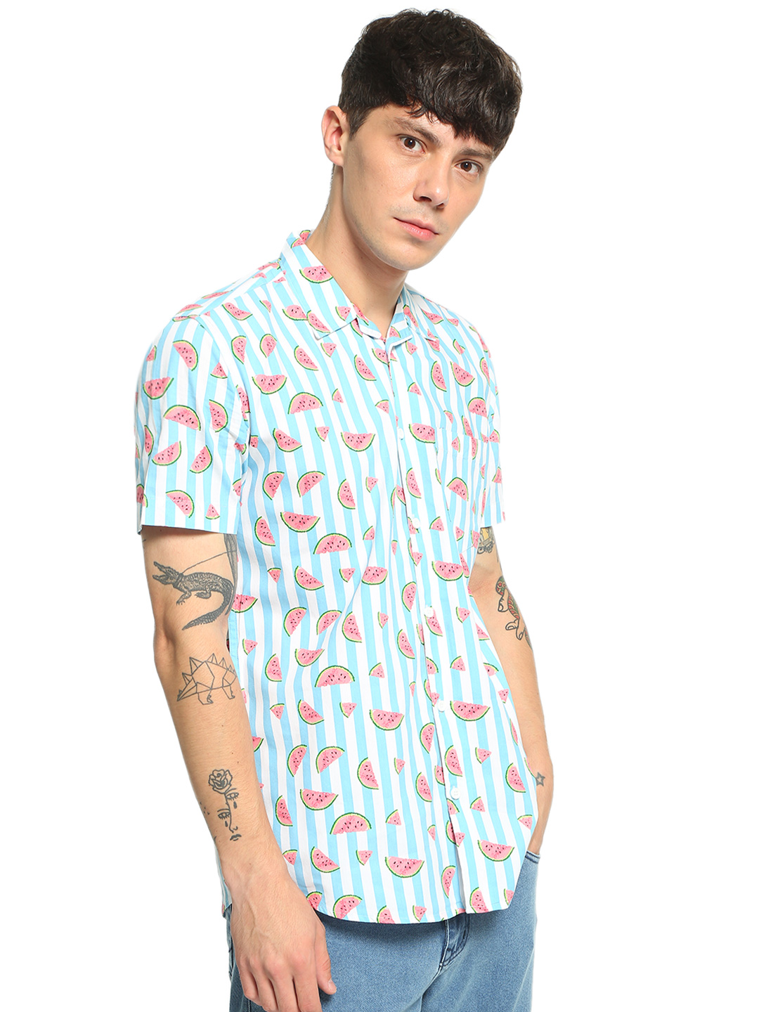 AMON Multi Watermelon Vertical Stripe Print Shirt 1