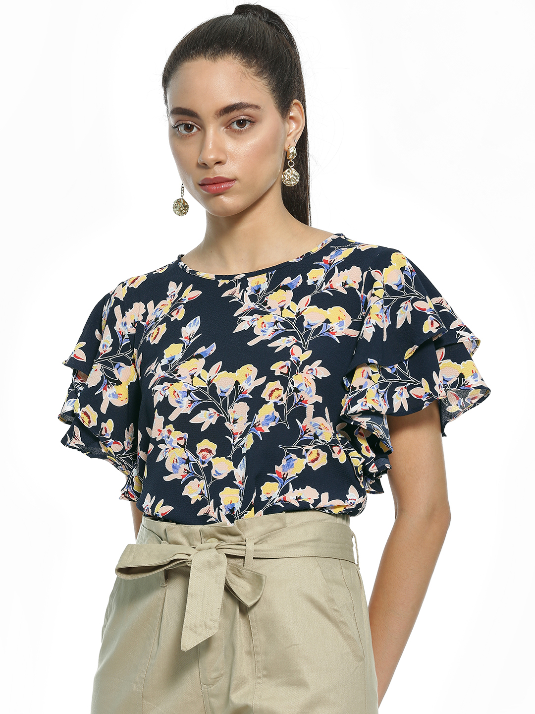 AND Multi Floral Print Ruffle Sleeve Blouse 1