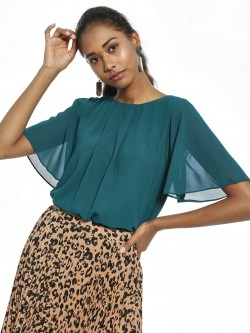 AND Front Pleated Flared Sleeve Blouse
