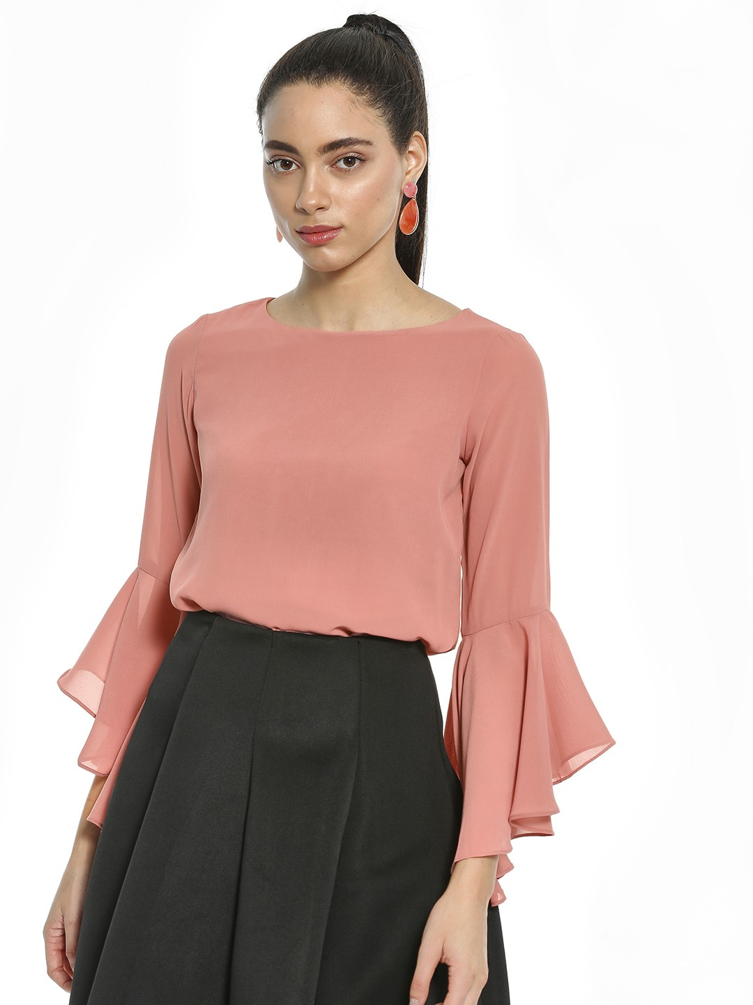AND Rose Pink Flared Sleeve Cross-Back Blouse 1