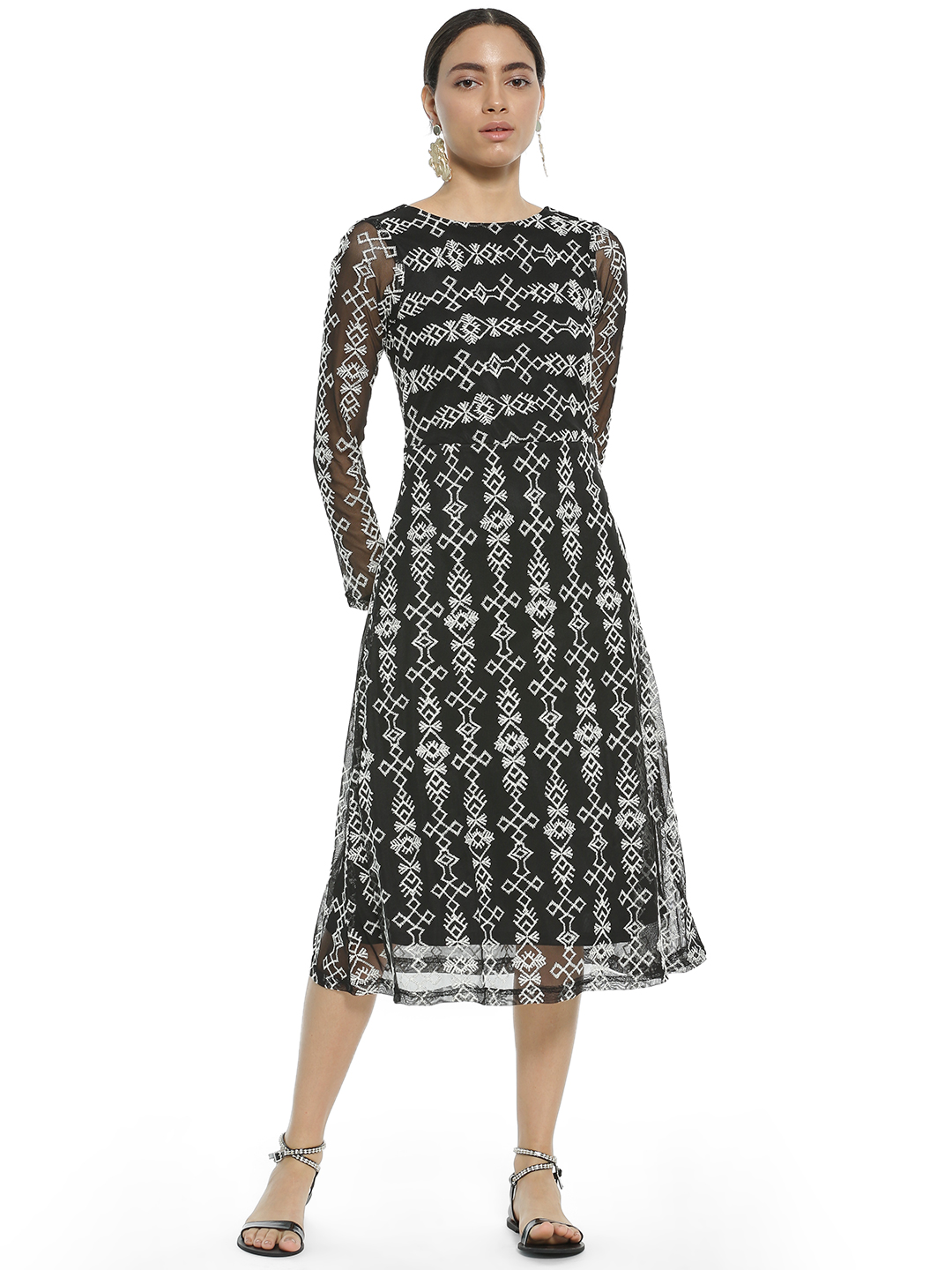 AND Black Embroidered Mesh Midi Dress 1
