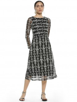 AND Embroidered Mesh Midi Dress