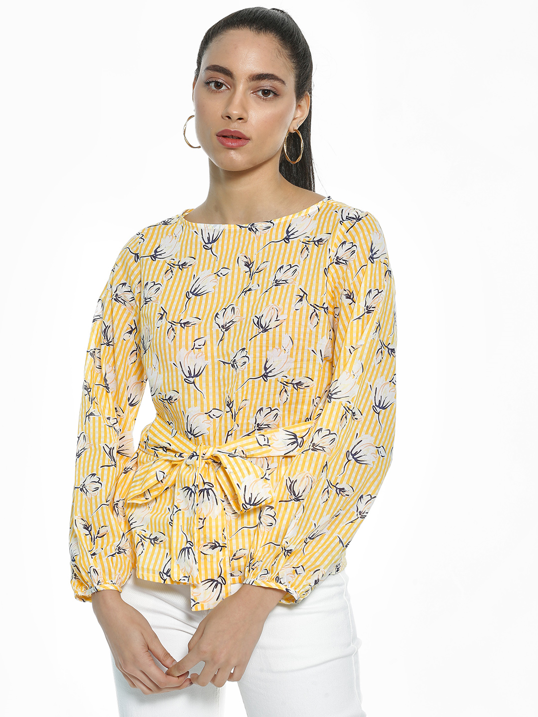AND Yellow Stripe Floral Print Tie-Up Blouse 1