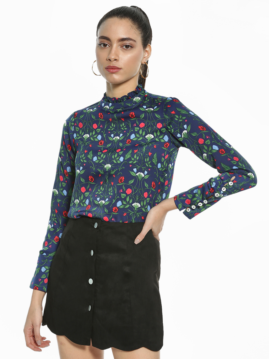 AND Navy Floral Print Ruffled Neck Blouse 1