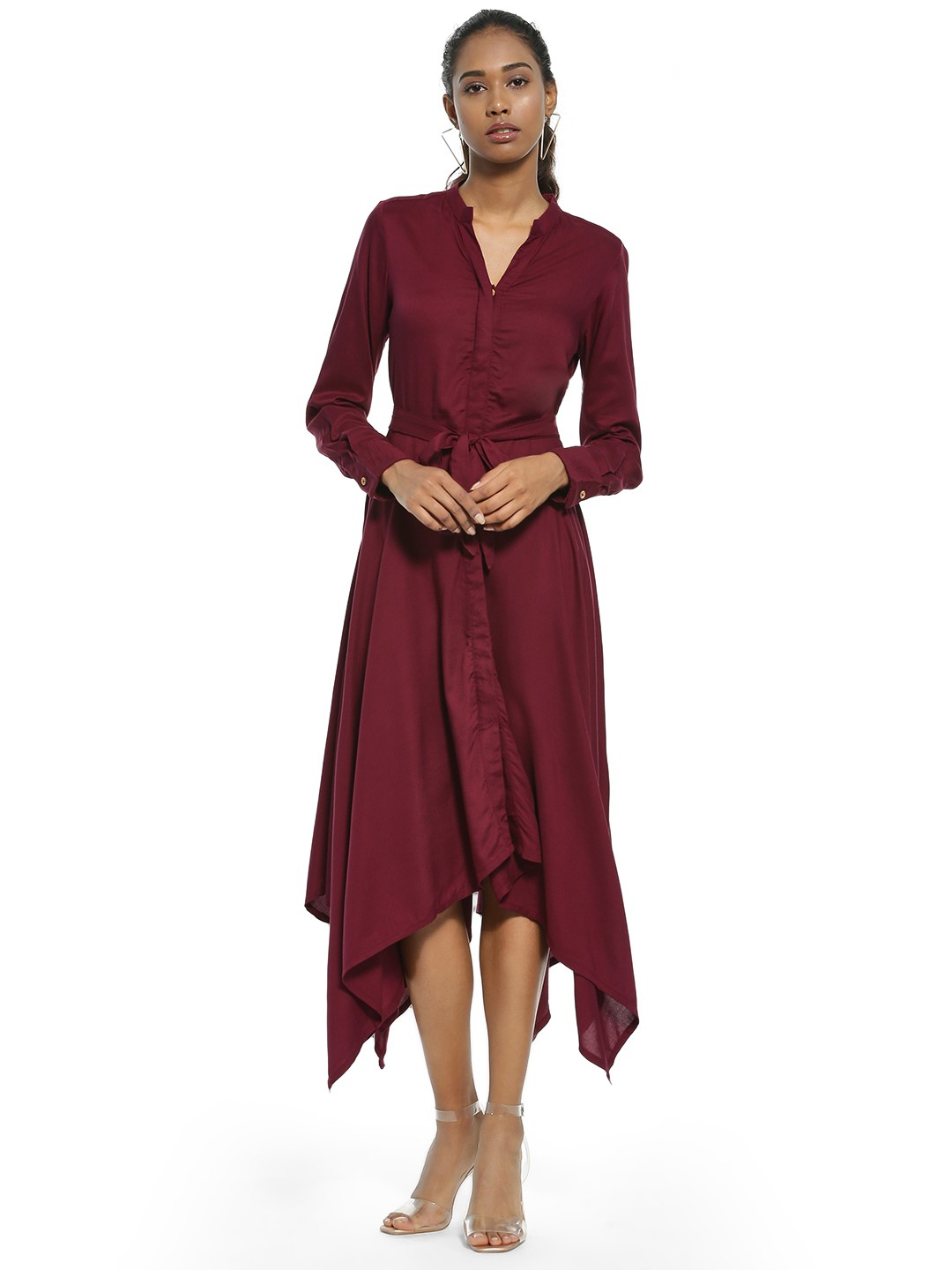 AND Maroon Asymmetric Hem Midi Dress 1