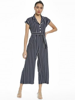 AND Vertical Stripe Collared Jumpsuit