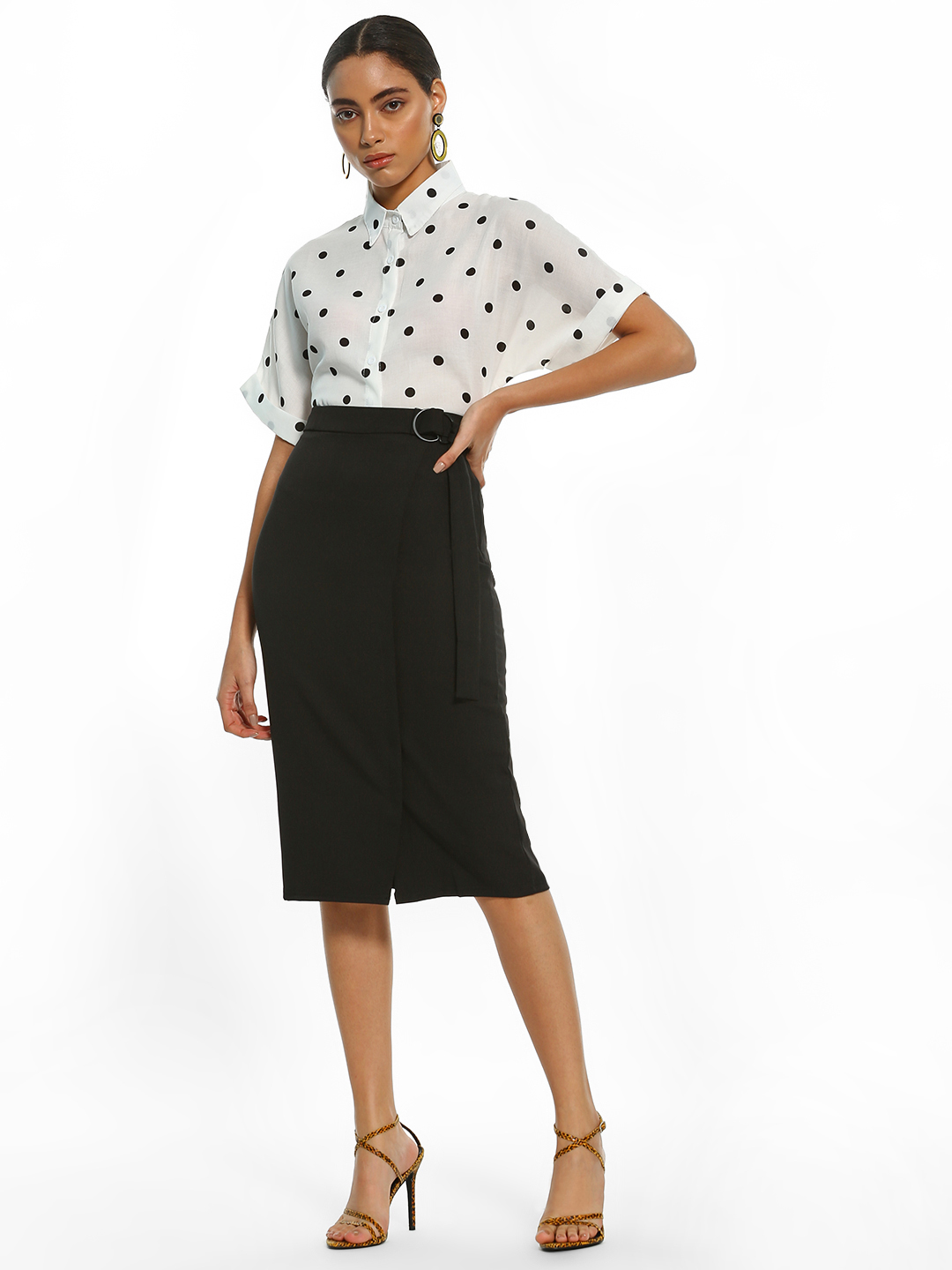 AND Black D-Ring Belt Pencil Skirt 1