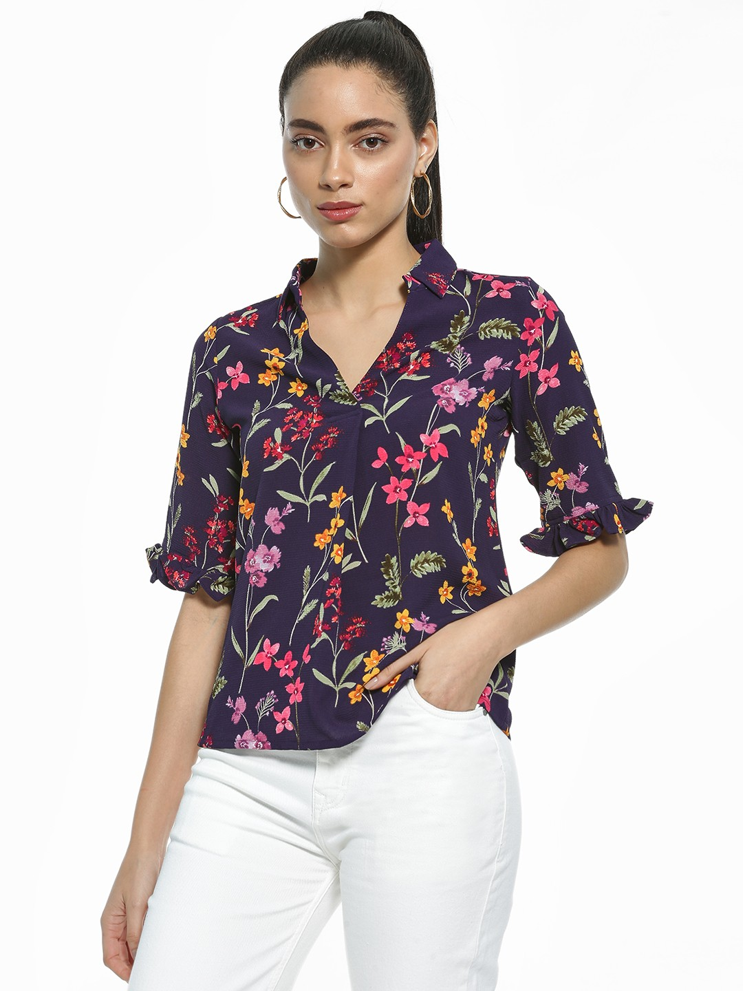 AND Navy Floral Print Collared Blouse 1