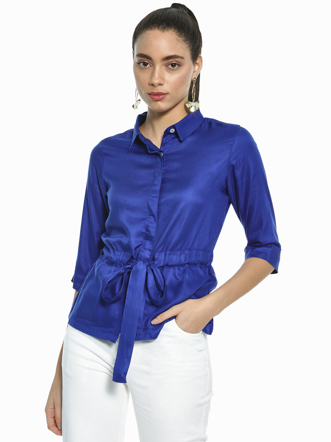 AND Ink Blue Basic Tie-Up Waist Shirt 1