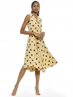 AND Polka Dot Print Midi Dress