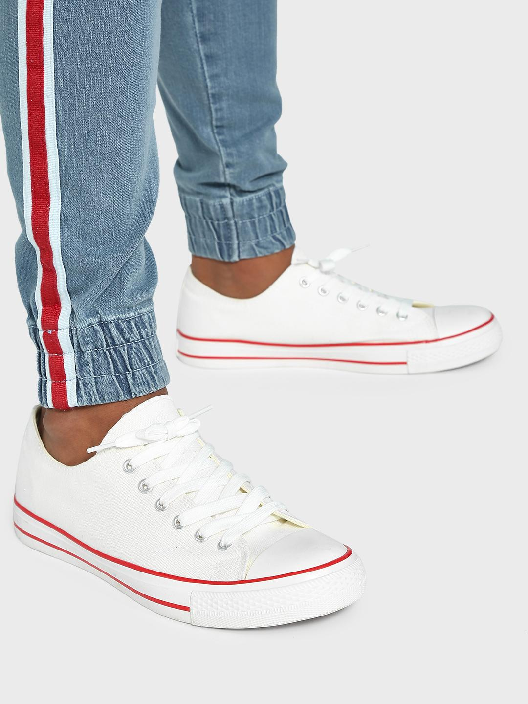 KOOVS White Basic Canvas Sneakers 1