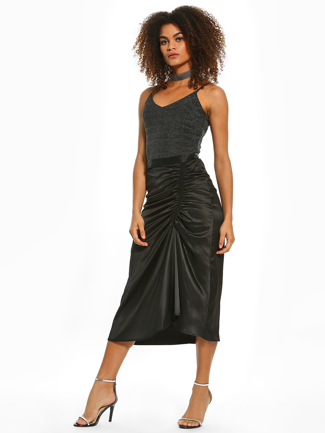 KOOVS Black Satin Ruched Front Midi Skirt 1