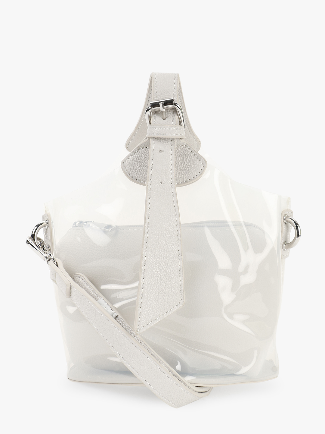 Origami Lily White Contrast Handle Clear Sling Bag 1