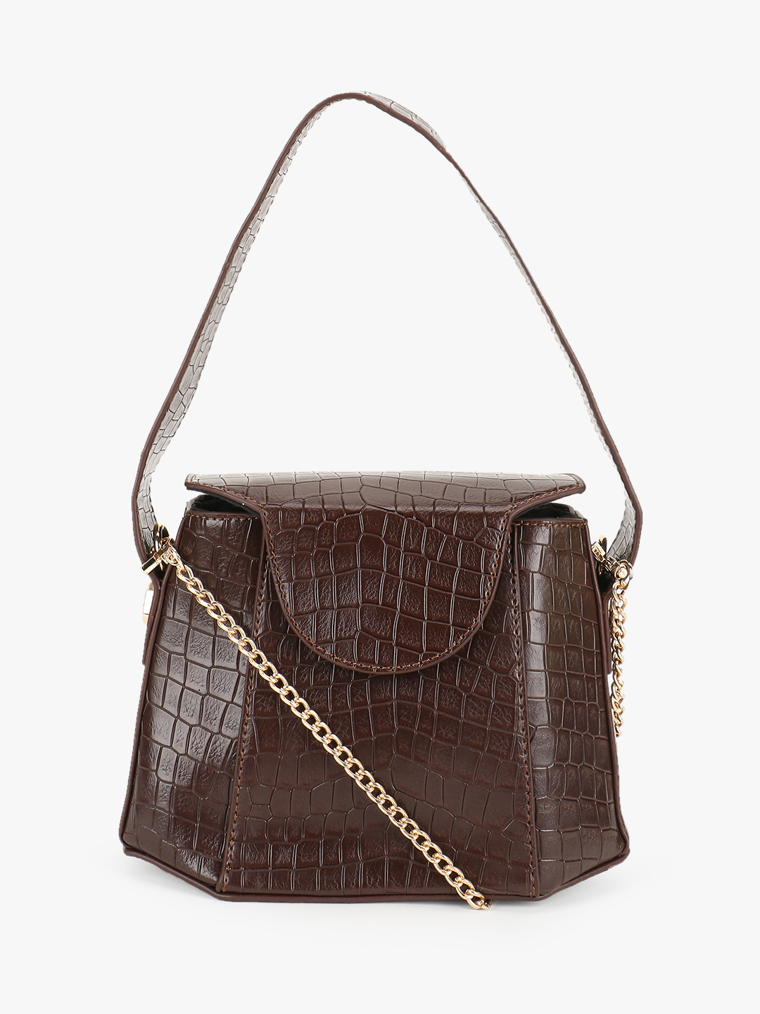 Origami Lily Brown Crocskin Structured Handbag 1
