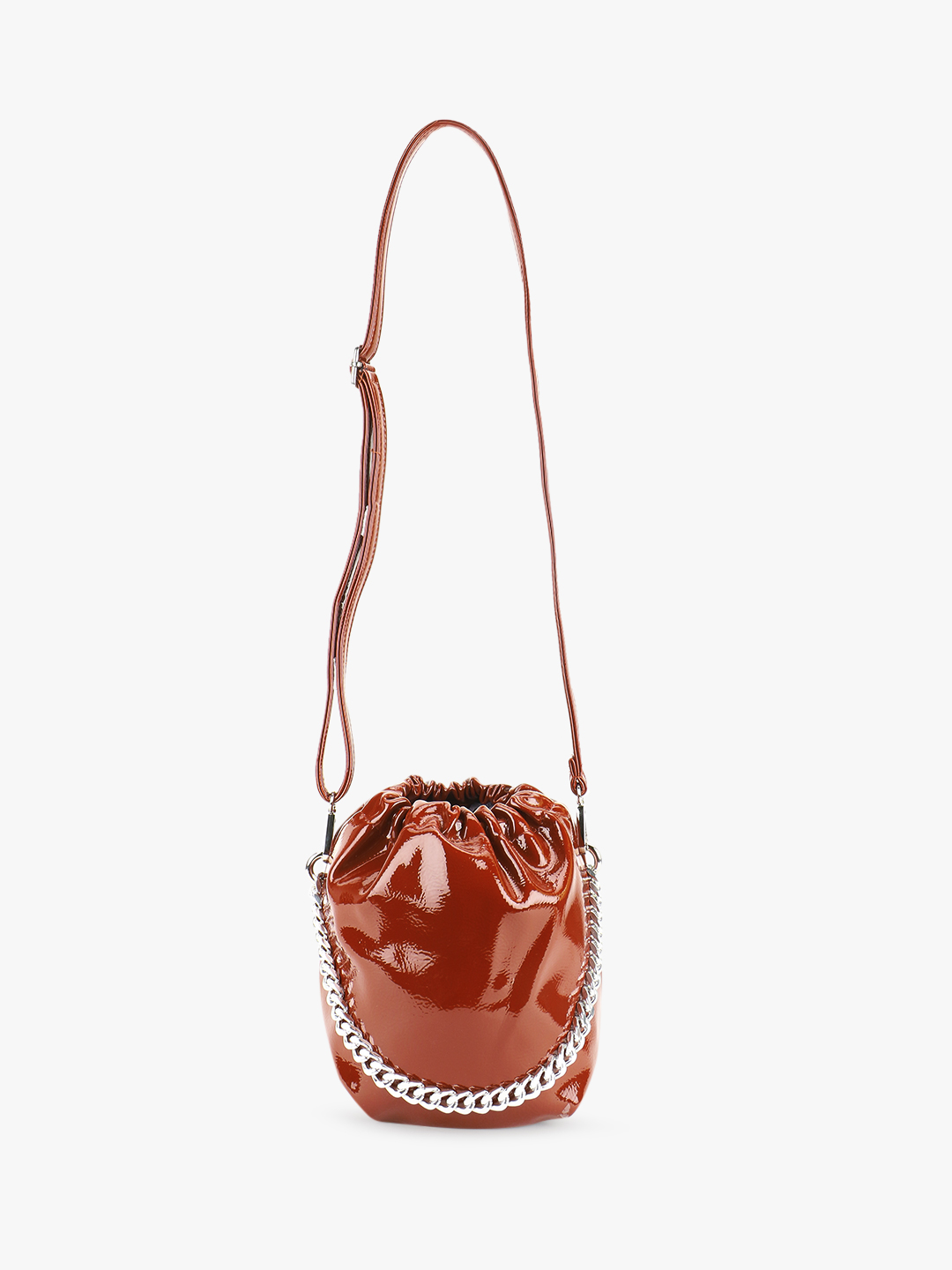 Origami Lily Brown Patent Bucket Sling Bag 1