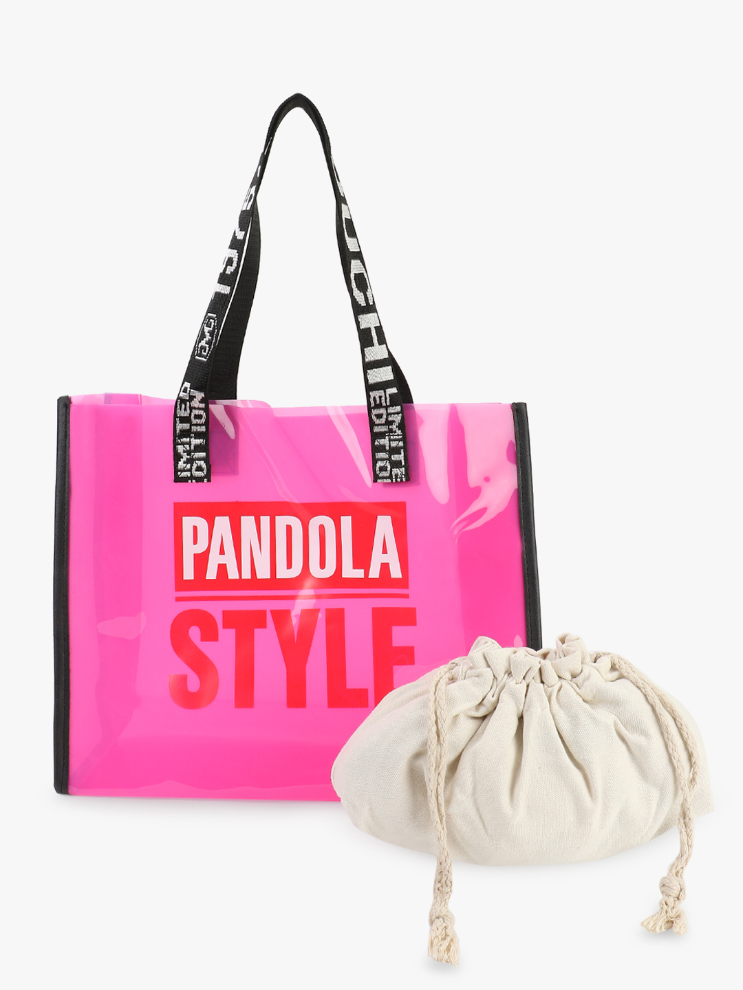 Origami Lily Pink Text Tape Strap Clear Tote Bag 1