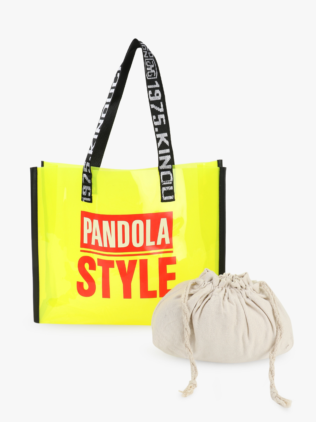 Origami Lily Yellow Text Tape Strap Clear Tote Bag 1
