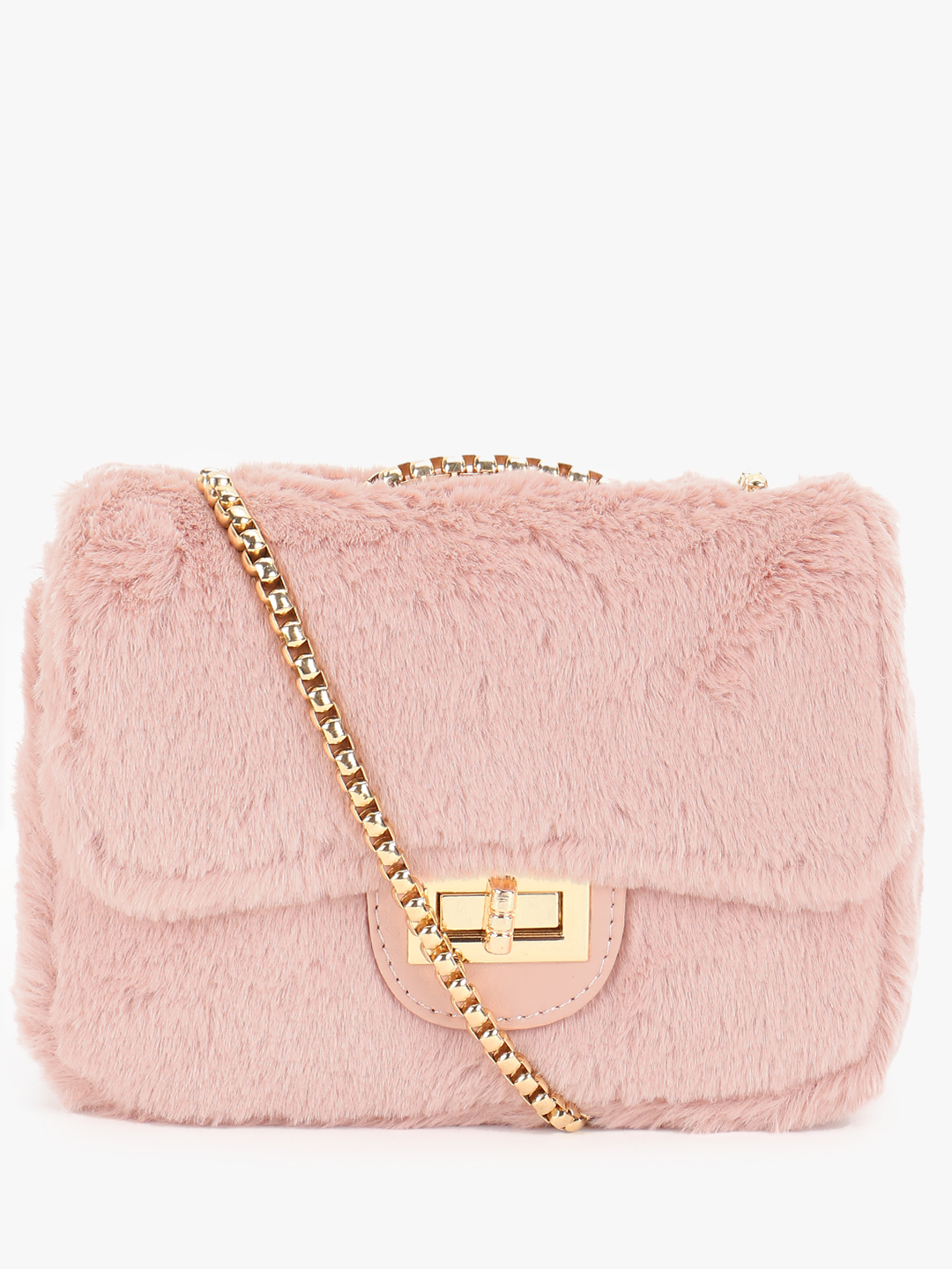 Origami Lily Pink Faux Fur Sling Bag 1
