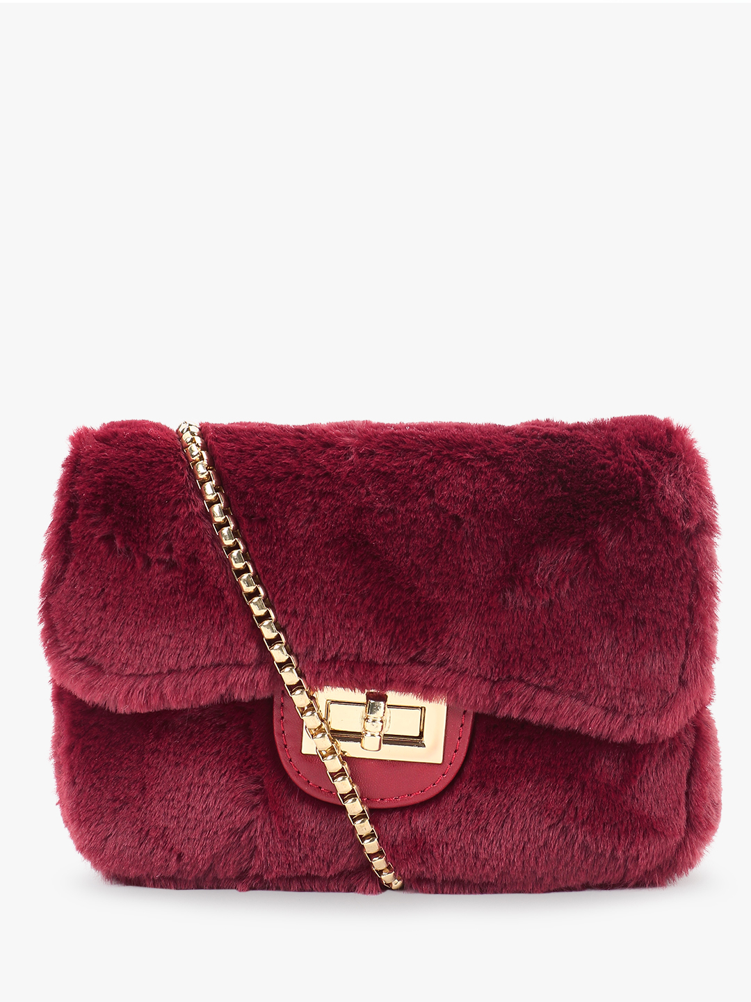 Origami Lily Maroon Faux Fur Sling Bag 1