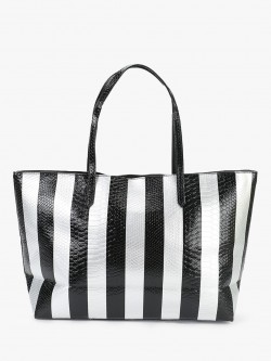 Origami Lily Crocskin Stripe Oversized Tote Bag