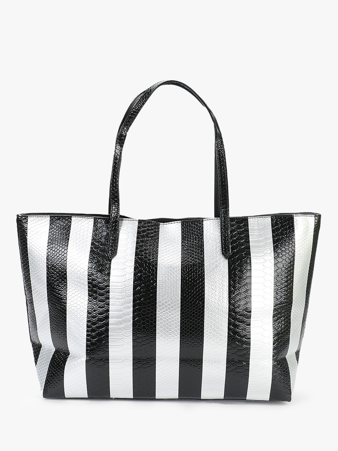 Origami Lily Multi Crocskin Stripe Oversized Tote Bag 1