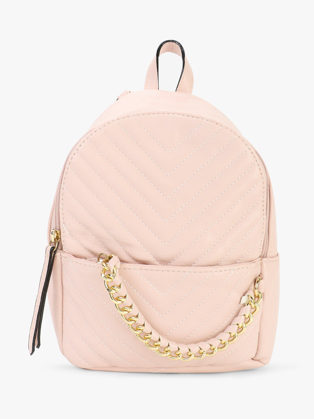 Origami Lily Pink Chevron Quilted Chain Detail Backpack 1