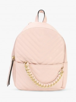 Origami Lily Chevron Quilted Chain Detail Backpack