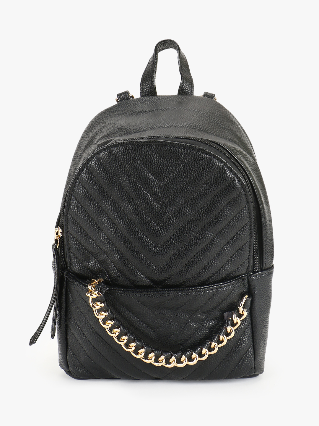 Origami Lily Black Chevron Quilted Chain Detail Backpack 1