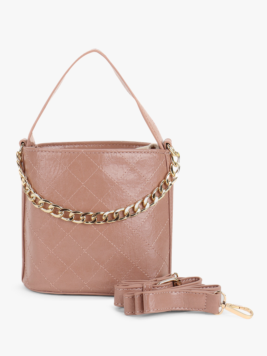 Origami Lily Pink Cross Stitch Chain Detail Sling Bag 1
