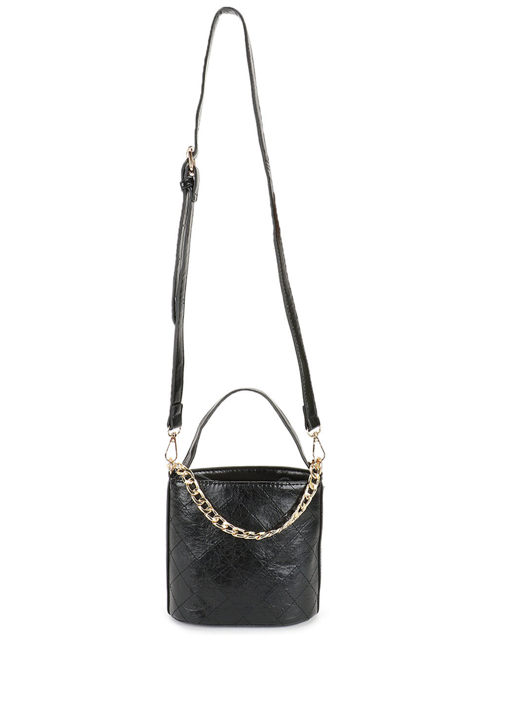 Origami Lily Black Cross Stitch Chain Detail Sling Bag 1