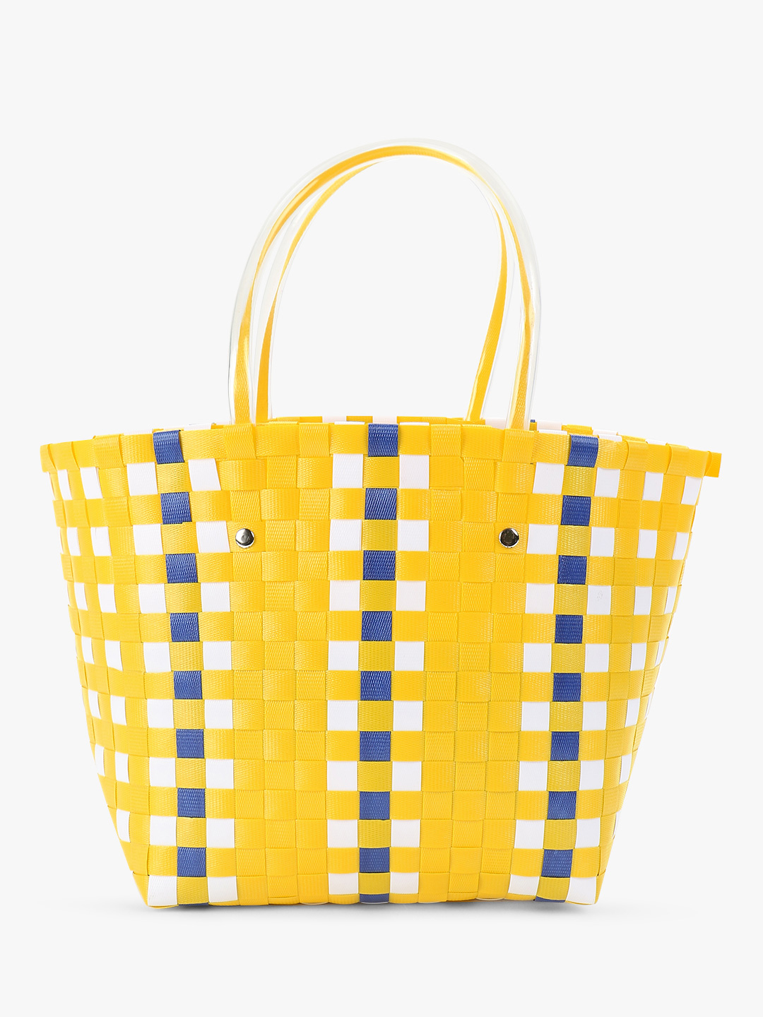 Origami Lily Yellow Basket Weave Tote Bag 1