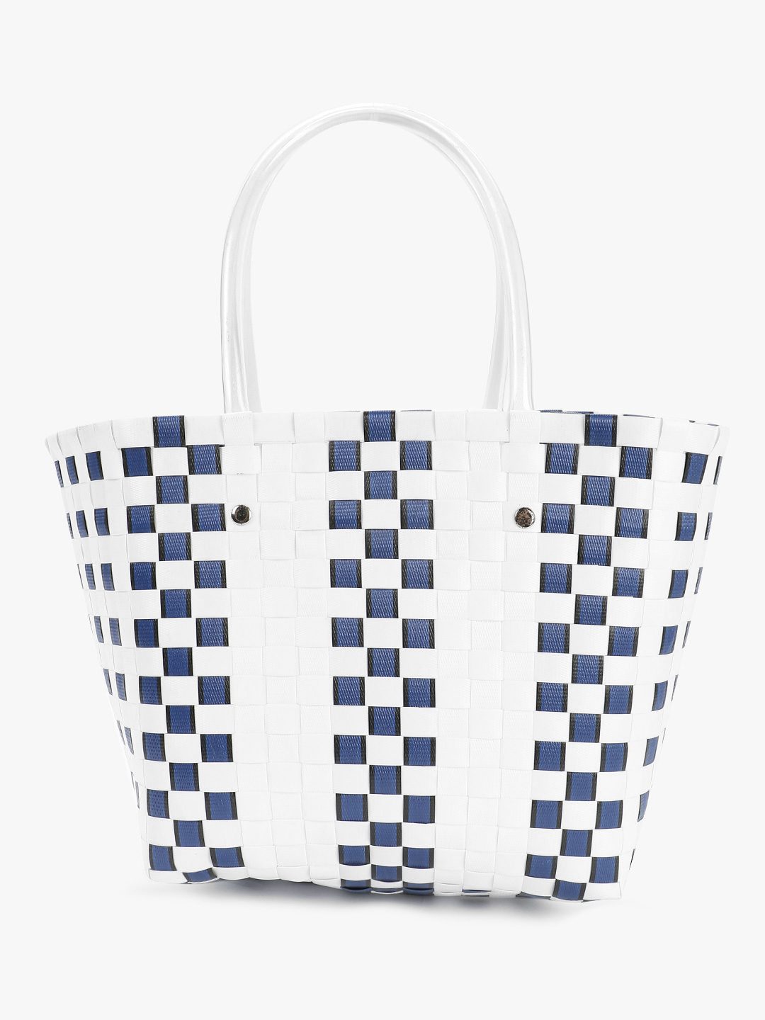 Origami Lily White/Blue Basket Weave Tote Bag 1