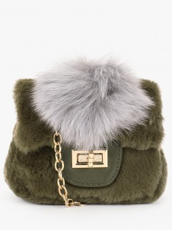 Origami Lily Faux Fur Mini Sling Bag