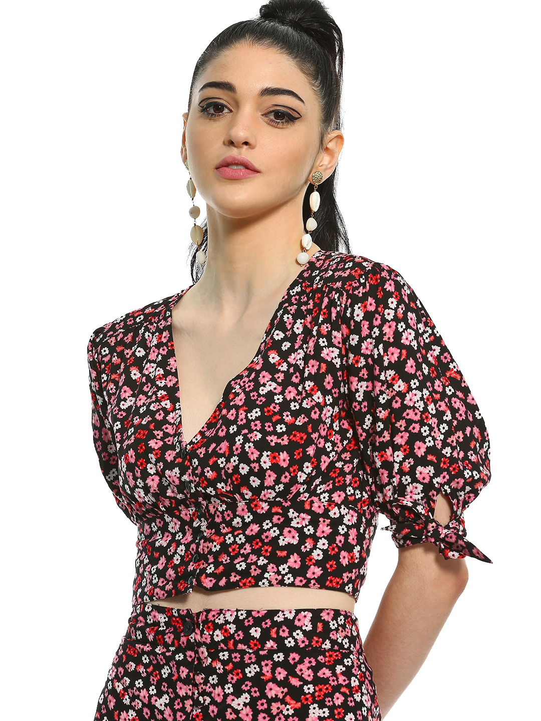 KOOVS Multi Floral Print Tie Sleeve Crop Top 1