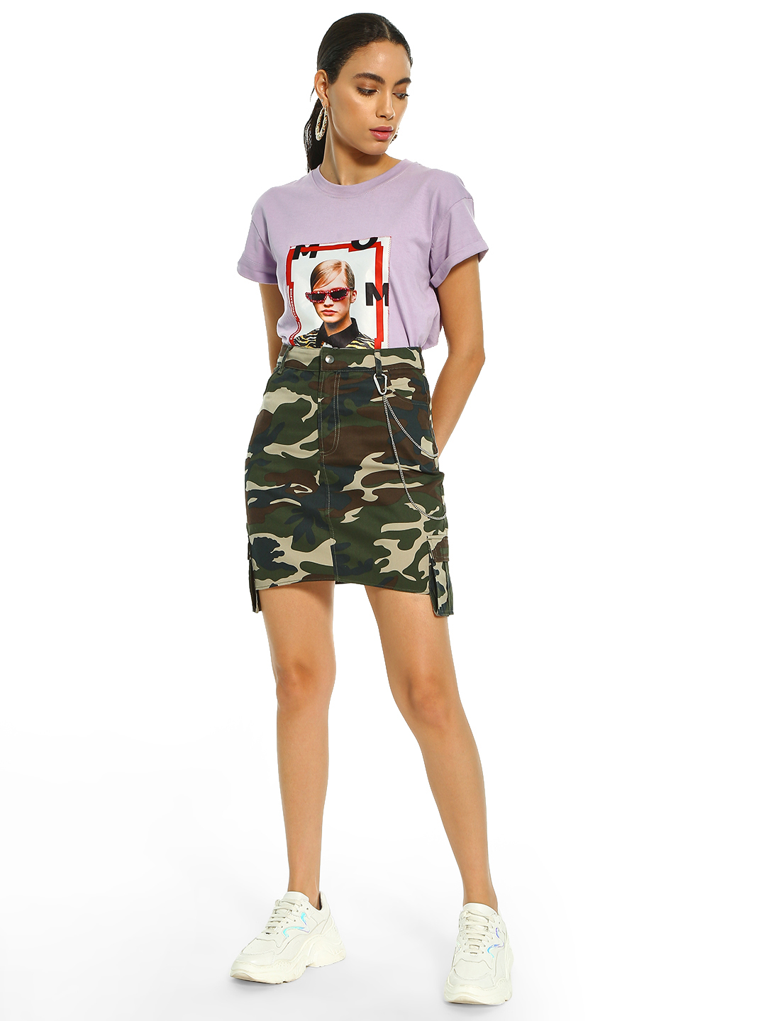KOOVS Multi Camouflage Asymmetric Pocket Mini Skirt 1