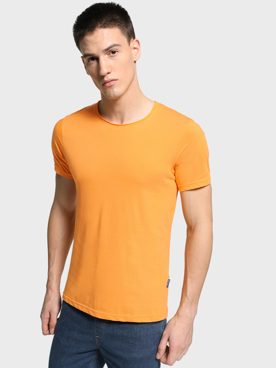 Blue Saint Yellow Basic Round Neck T-Shirt 1