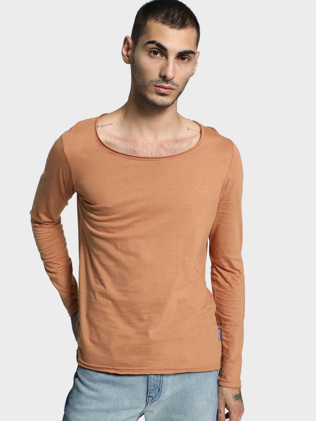 Blue Saint Brown Raw Edge Scoop Neck T-Shirt 1