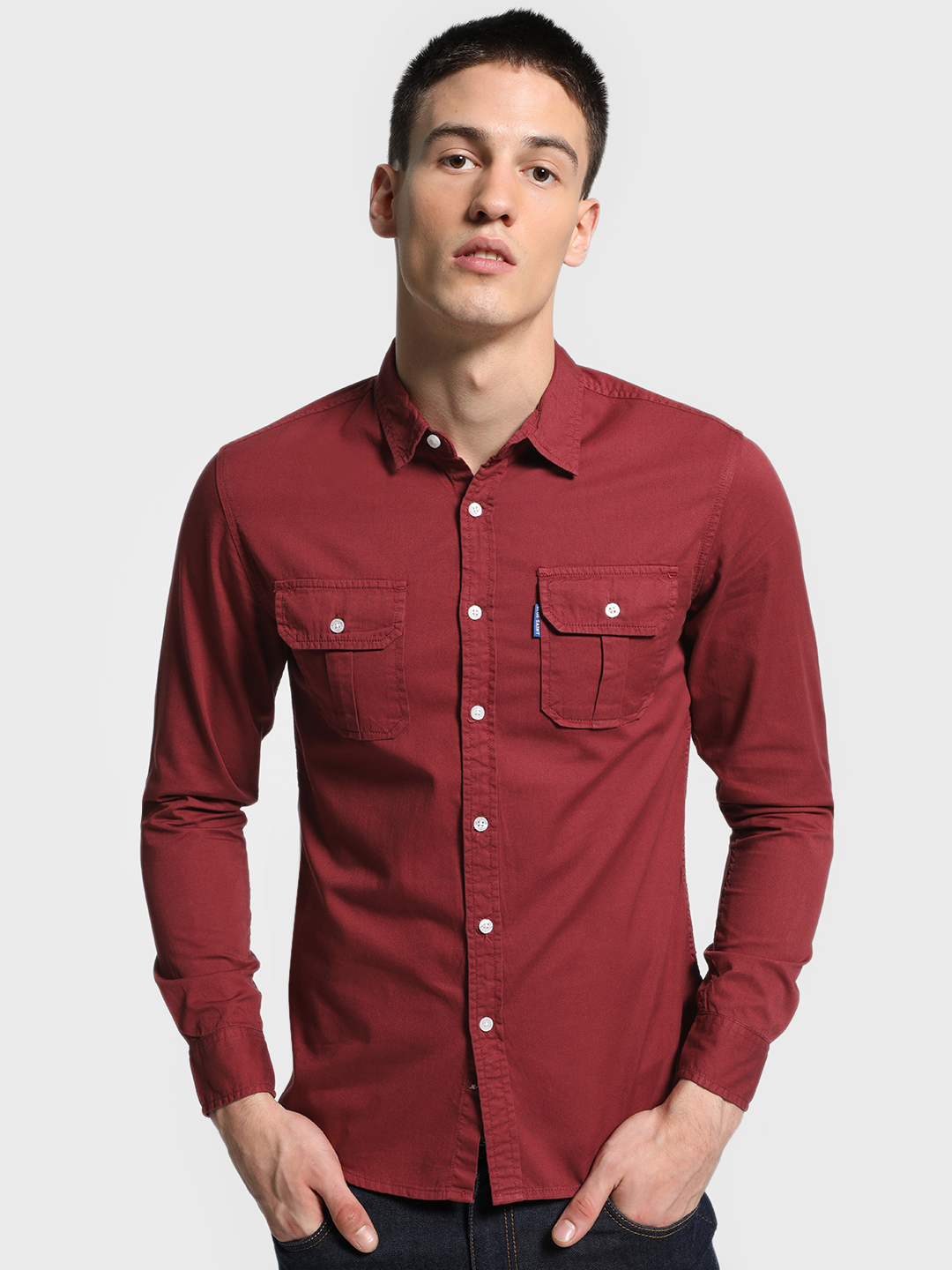 Blue Saint Maroon Twin Pocket Slim Shirt 1