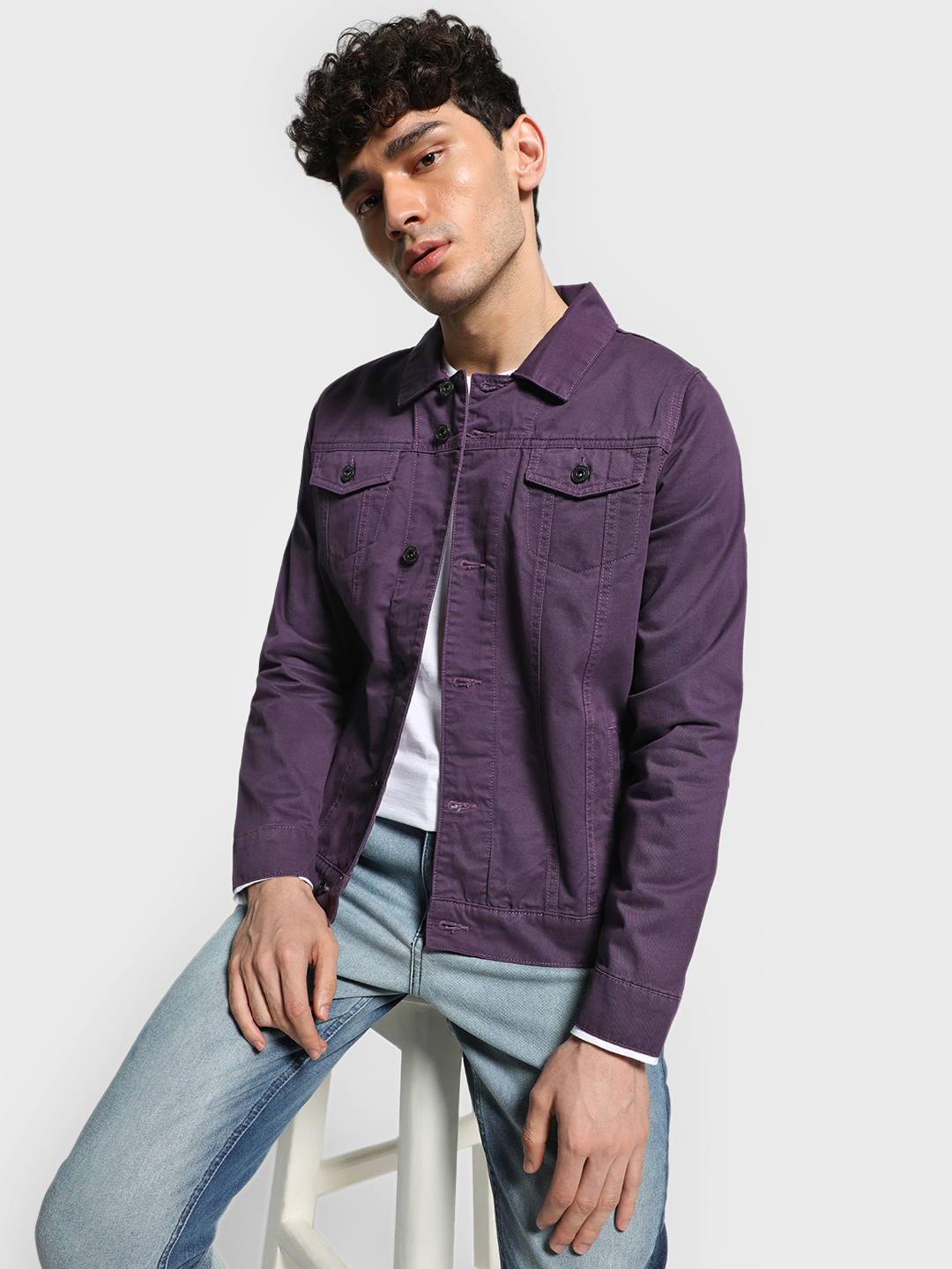 Blue Saint Purple Overdyed Long Sleeve Denim Jacket 1